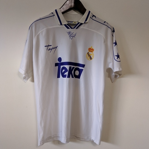 huge discount f7fe7 558f9 VTG 90s Real Madrid Jersey Large Taquy #10 Laudrup